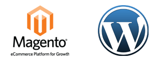 Logos of Magento and WordPress